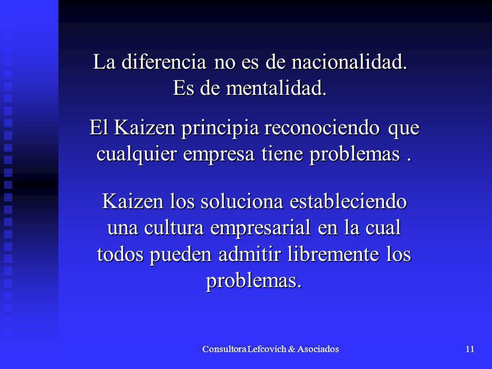 Consultora Lefcovich & Asociados11 La diferencia no es de nacionalidad. Es de mentalidad. El Kaizen principia reconociendo que cualquier empresa tiene