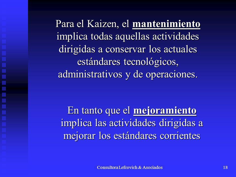 Consultora Lefcovich & Asociados18 Para el Kaizen, el mantenimiento implica todas aquellas actividades dirigidas a conservar los actuales estándares t