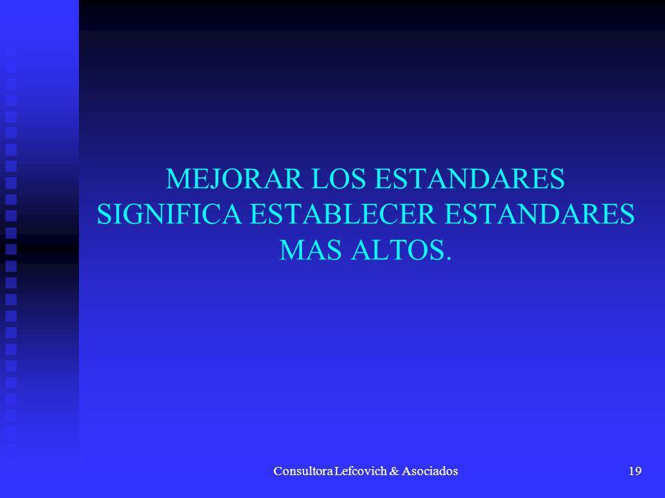 Consultora Lefcovich & Asociados19 MEJORAR LOS ESTANDARES SIGNIFICA ESTABLECER ESTANDARES MAS ALTOS.