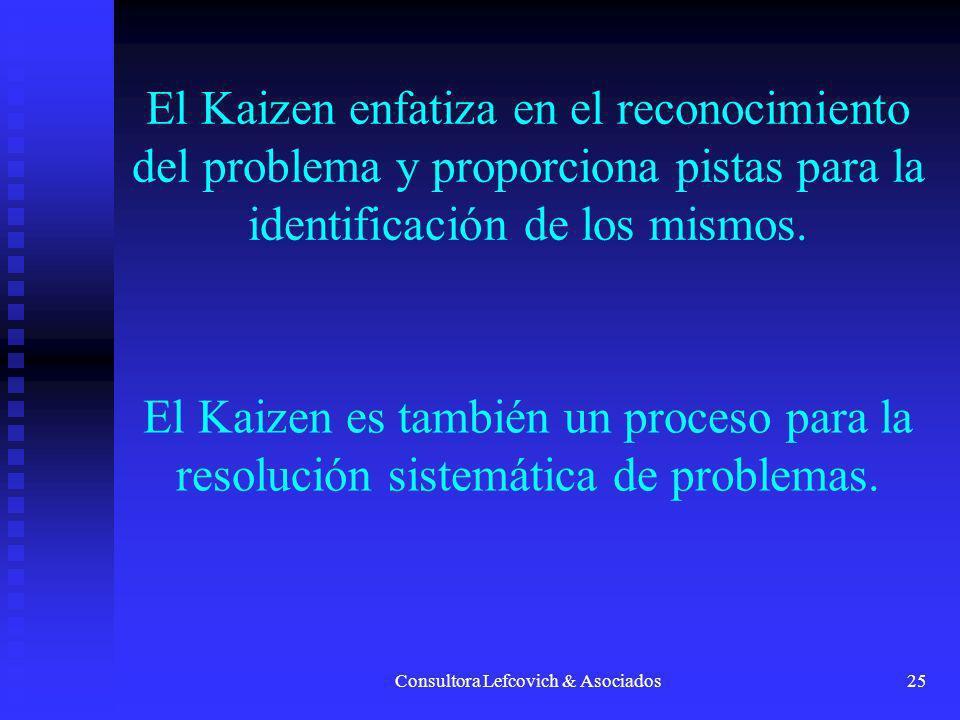 Consultora Lefcovich & Asociados25 El Kaizen enfatiza en el reconocimiento del problema y proporciona pistas para la identificación de los mismos. El