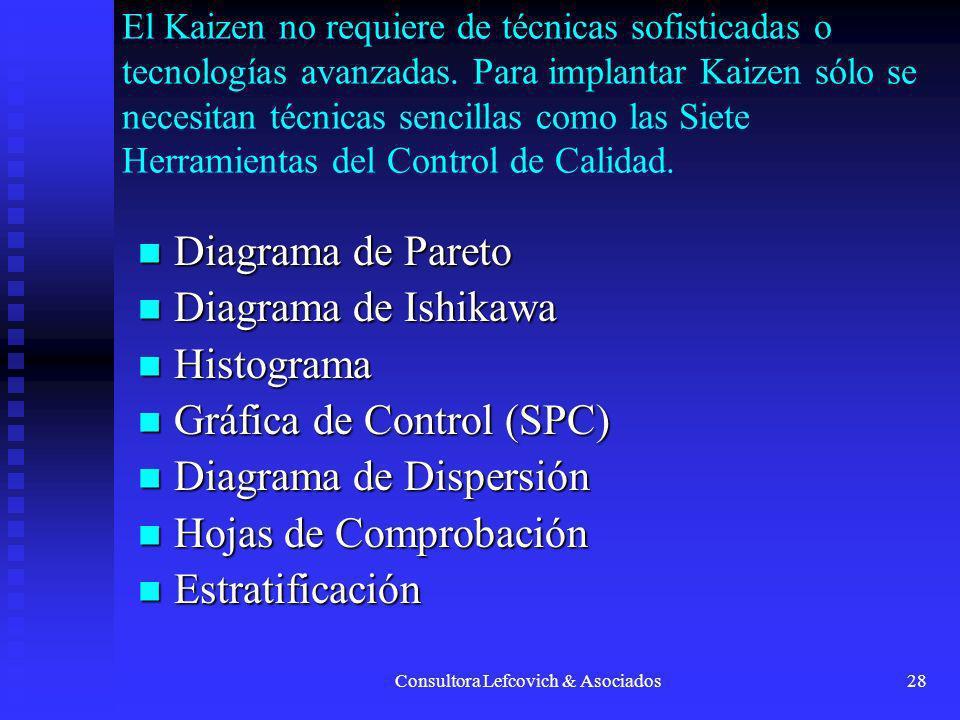 Consultora Lefcovich & Asociados28 El Kaizen no requiere de técnicas sofisticadas o tecnologías avanzadas. Para implantar Kaizen sólo se necesitan téc