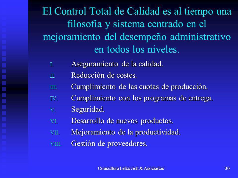 Consultora Lefcovich & Asociados30 El Control Total de Calidad es al tiempo una filosofía y sistema centrado en el mejoramiento del desempeño administ
