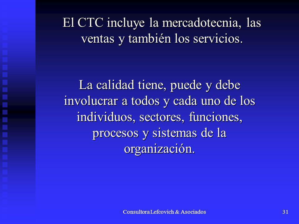Consultora Lefcovich & Asociados31 El CTC incluye la mercadotecnia, las ventas y también los servicios. La calidad tiene, puede y debe involucrar a to