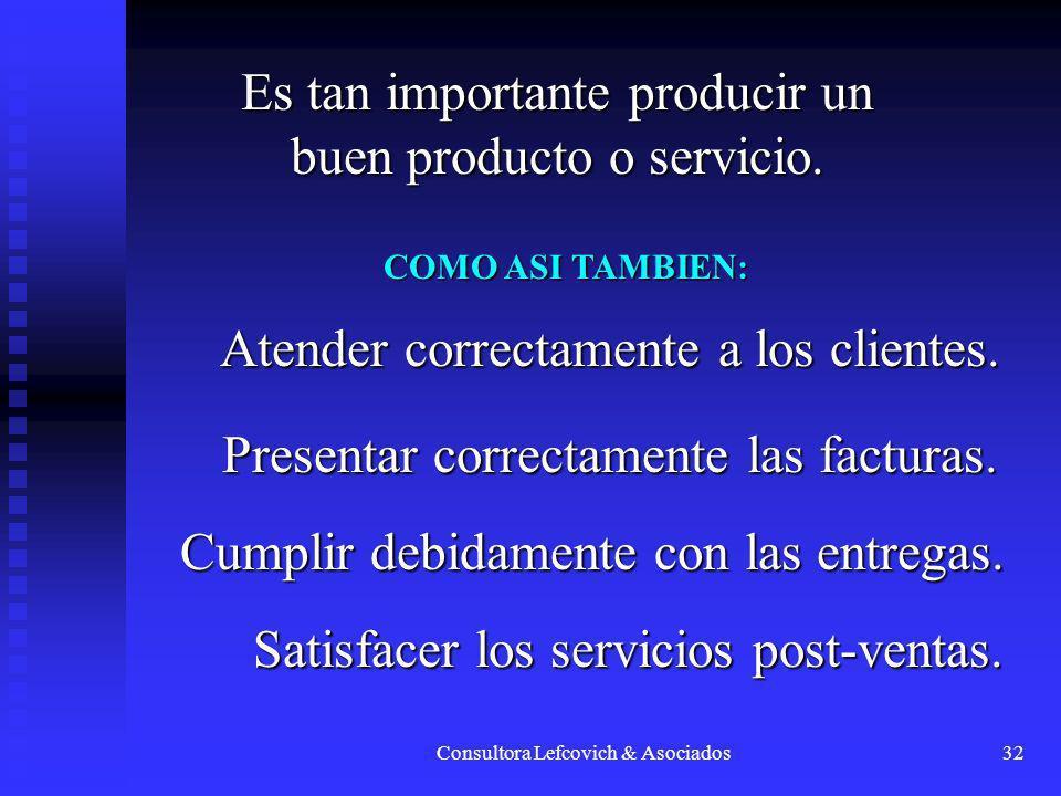 Consultora Lefcovich & Asociados32 Es tan importante producir un buen producto o servicio. COMO ASI TAMBIEN: Atender correctamente a los clientes. Pre