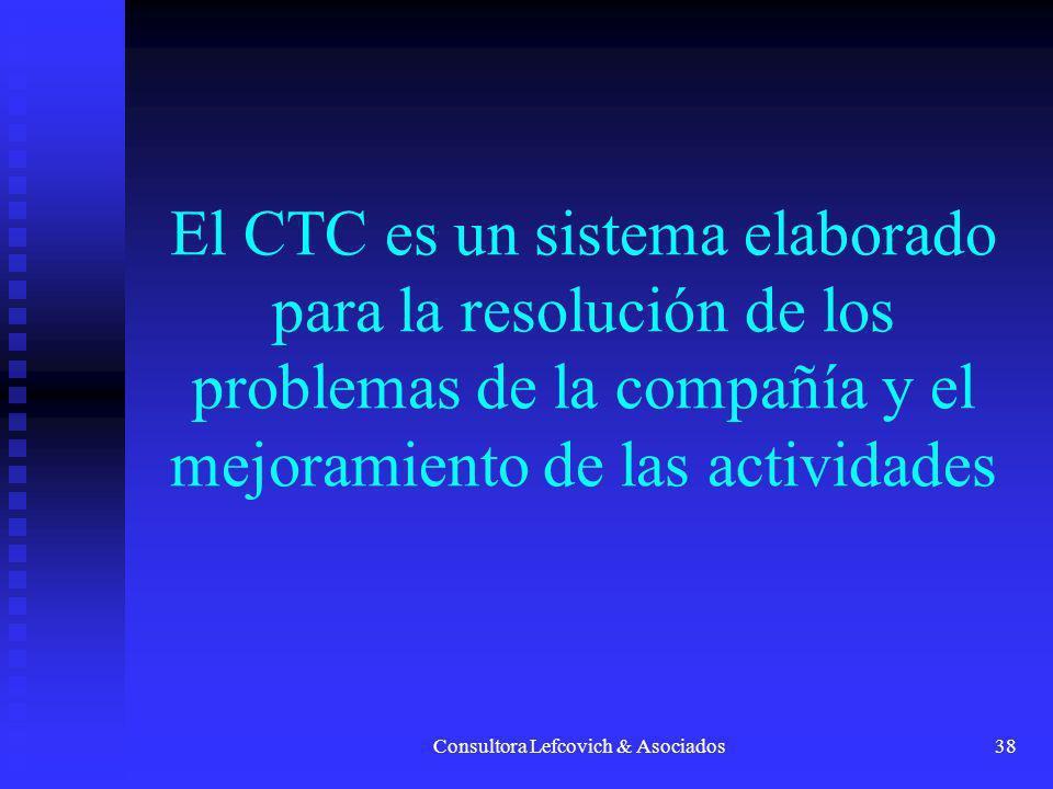Consultora Lefcovich & Asociados38 El CTC es un sistema elaborado para la resolución de los problemas de la compañía y el mejoramiento de las activida