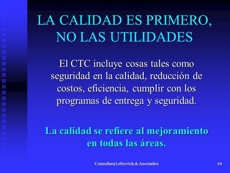 Consultora Lefcovich & Asociados44 LA CALIDAD ES PRIMERO, NO LAS UTILIDADES El CTC incluye cosas tales como seguridad en la calidad, reducción de cost