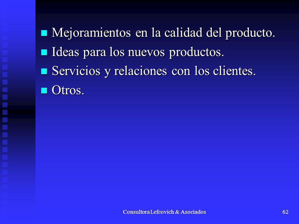 Consultora Lefcovich & Asociados62 Mejoramientos en la calidad del producto. Mejoramientos en la calidad del producto. Ideas para los nuevos productos