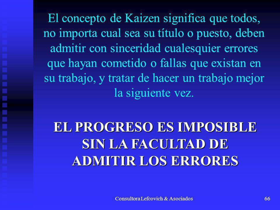 Consultora Lefcovich & Asociados66 El concepto de Kaizen significa que todos, no importa cual sea su título o puesto, deben admitir con sinceridad cua