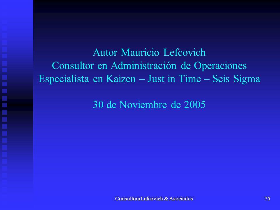 Consultora Lefcovich & Asociados75 AutorMauricio Lefcovich Consultor en Administración de Operaciones Especialista en Kaizen – Just in Time – Seis Sig