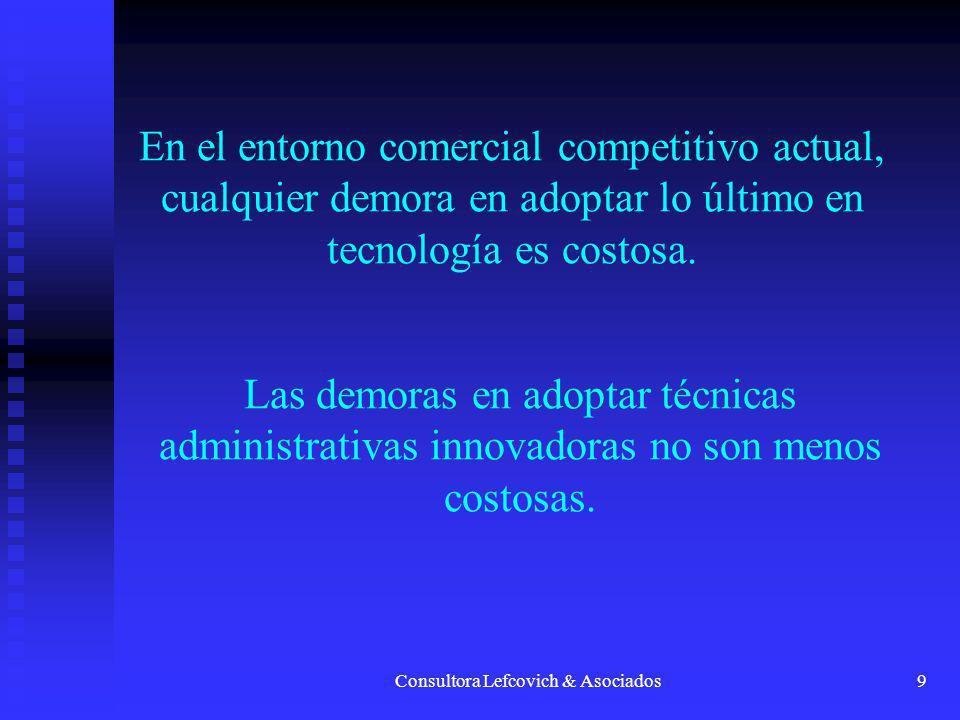 Consultora Lefcovich & Asociados9 En el entorno comercial competitivo actual, cualquier demora en adoptar lo último en tecnología es costosa. Las demo