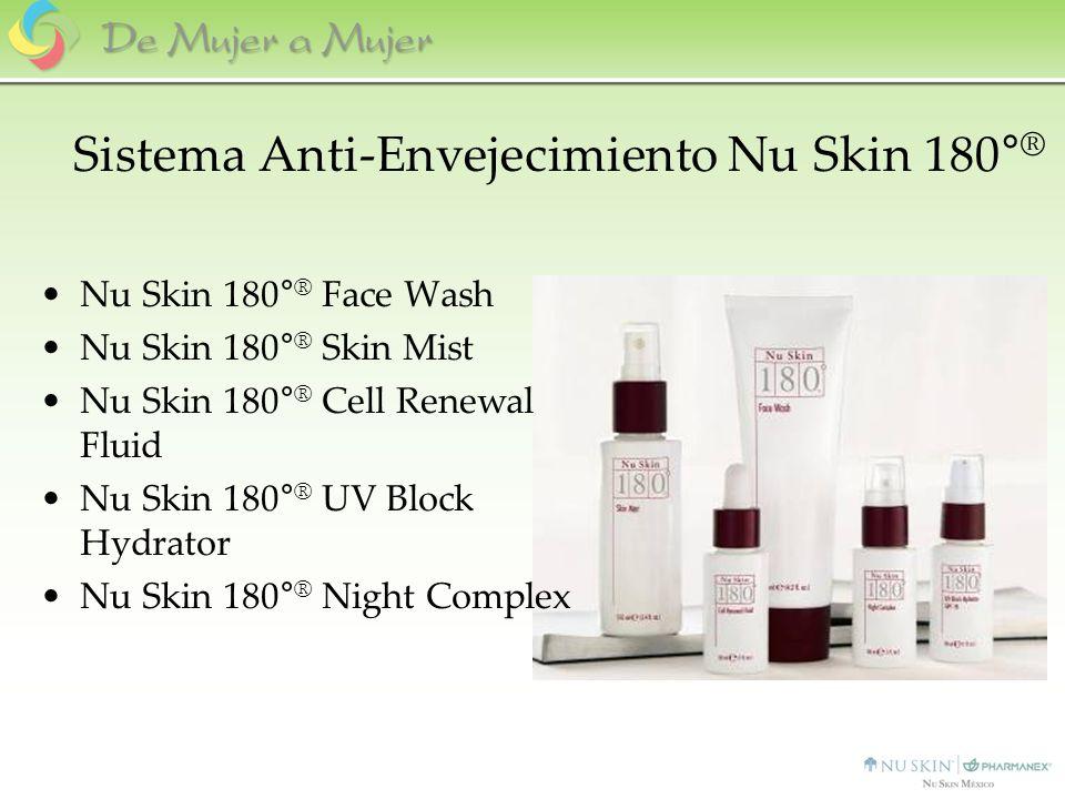 Sistema Anti-Envejecimiento Nu Skin 180° ® Nu Skin 180° ® Face Wash Nu Skin 180° ® Skin Mist Nu Skin 180° ® Cell Renewal Fluid Nu Skin 180° ® UV Block