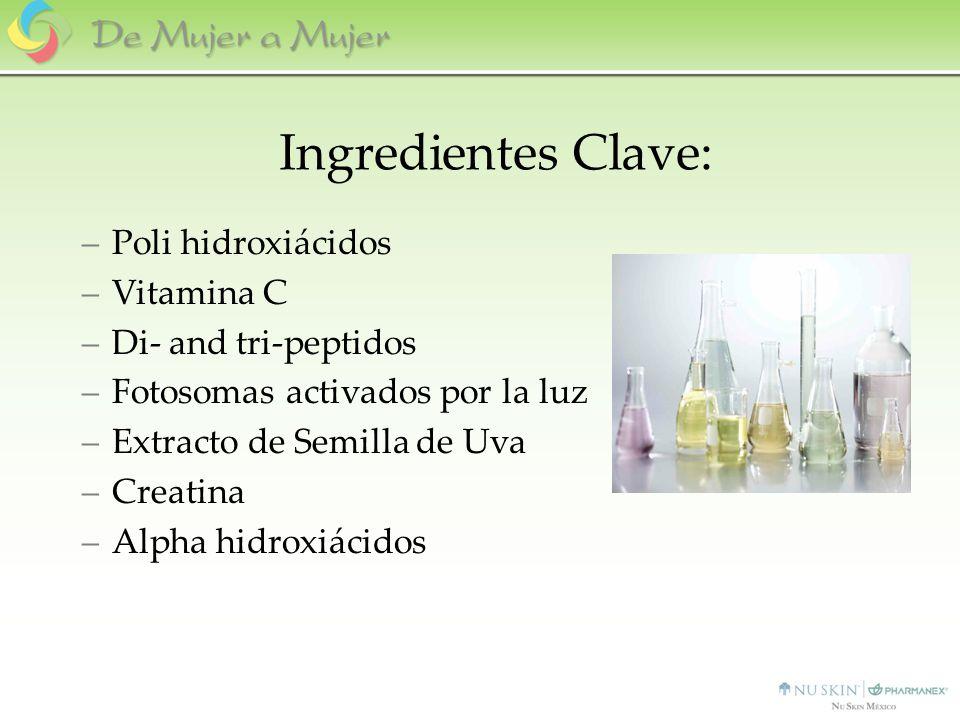 Ingredientes Clave: –Poli hidroxiácidos –Vitamina C –Di- and tri-peptidos –Fotosomas activados por la luz –Extracto de Semilla de Uva –Creatina –Alpha