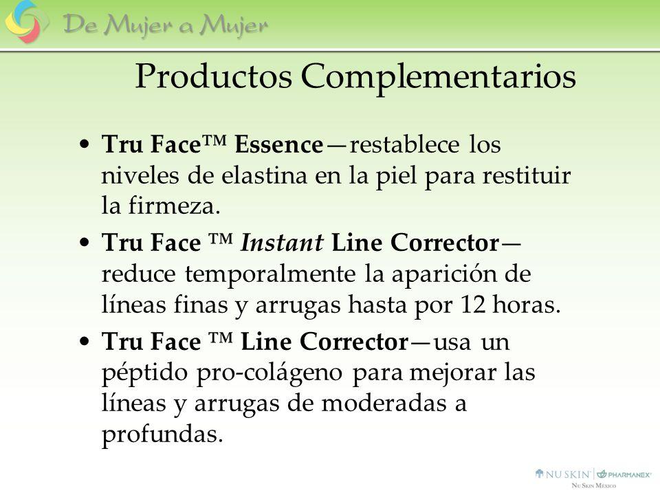 Productos Complementarios Tru Face Essencerestablece los niveles de elastina en la piel para restituir la firmeza. Tru Face Instant Line Corrector red
