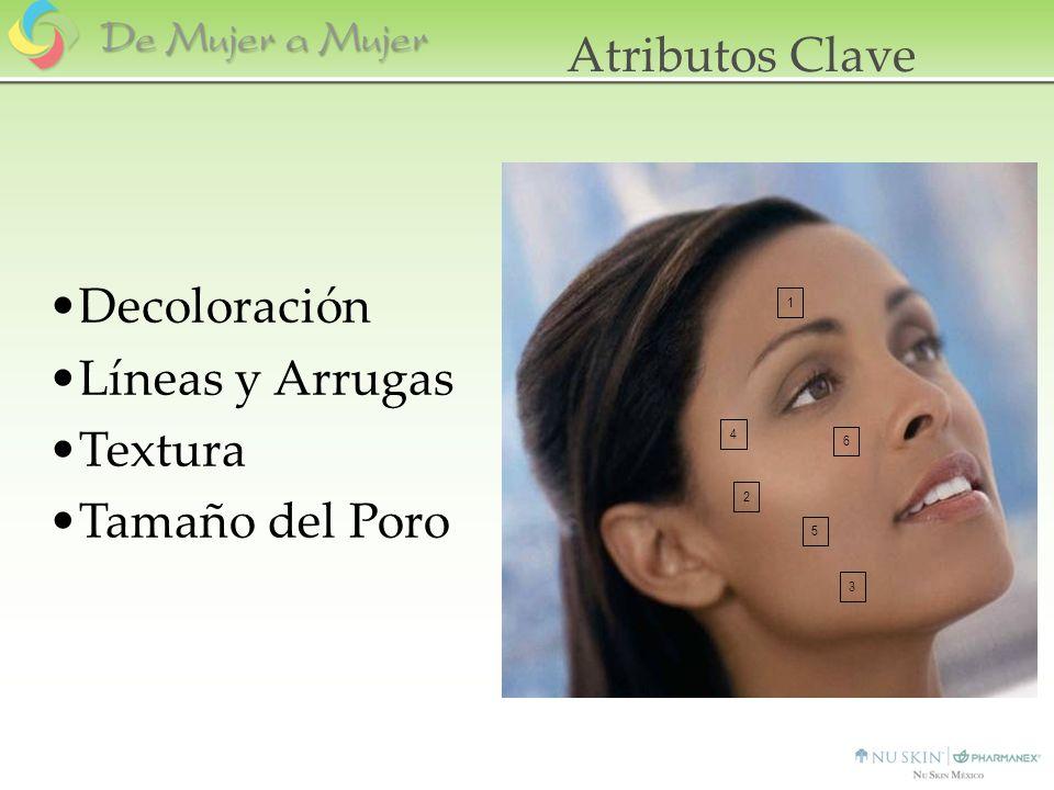 Decoloración Tres Imágenes –Sobre la Ceja –Área externa de la mejilla –En la línea de la mandíbula