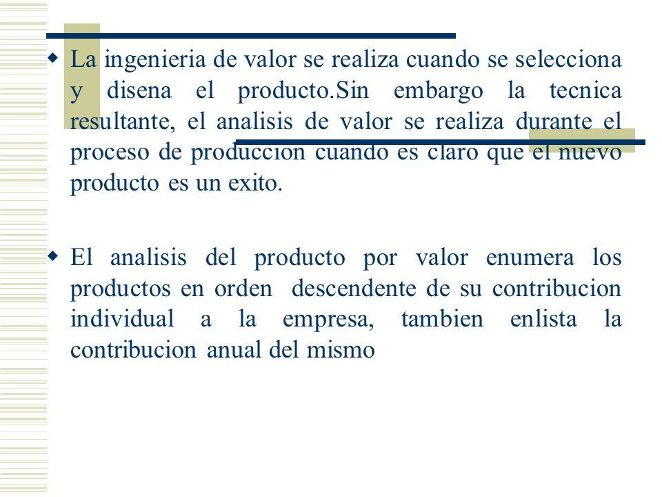 La ingenieria de valor se realiza cuando se selecciona y disena el producto.Sin embargo la tecnica resultante, el analisis de valor se realiza durante