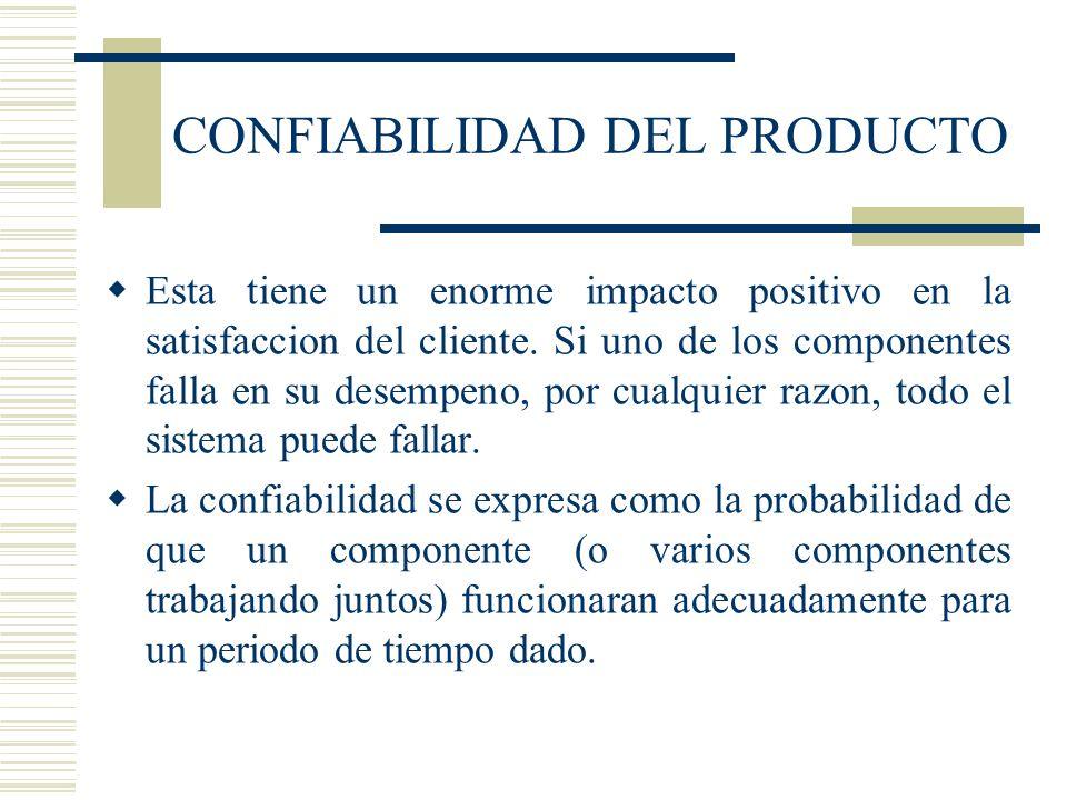 CONFIABILIDAD DEL PRODUCTO Esta tiene un enorme impacto positivo en la satisfaccion del cliente. Si uno de los componentes falla en su desempeno, por