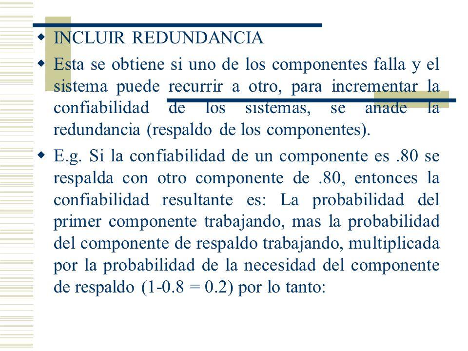 INCLUIR REDUNDANCIA Esta se obtiene si uno de los componentes falla y el sistema puede recurrir a otro, para incrementar la confiabilidad de los siste