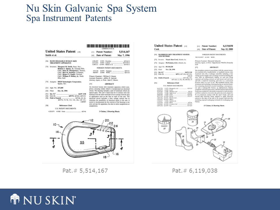 Nu Skin Galvanic Spa System Spa Instrument Patents Pat.# 5,514,167Pat.# 6,119,038
