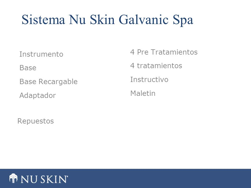 Sistema Nu Skin Galvanic Spa Instrumento Base Base Recargable Adaptador 4 Pre Tratamientos 4 tratamientos Instructivo Maletin Repuestos