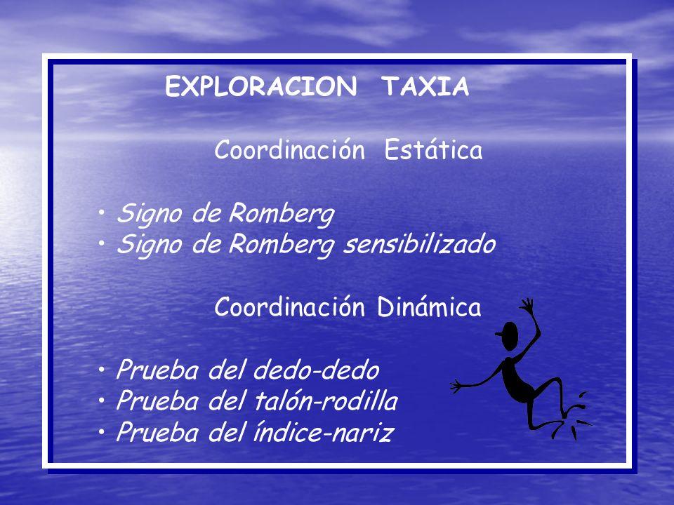 EXPLORACION TAXIA Coordinación Estática Signo de Romberg Signo de Romberg sensibilizado Coordinación Dinámica Prueba del dedo-dedo Prueba del talón-ro