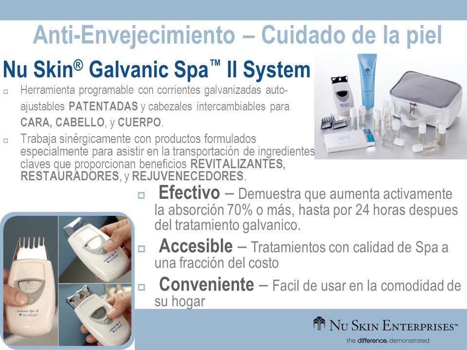 Anti-Envejecimiento – Cuidado de la piel Nu Skin ® Galvanic Spa II System Herramienta programable con corrientes galvanizadas auto- ajustables PATENTA