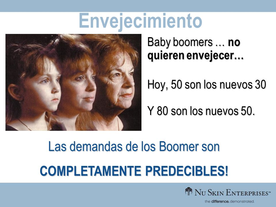 Baby boomers … no quieren envejecer… Hoy, 50 son los nuevos 30 Y 80 son los nuevos 50. Envejecimiento Las demandas de los Boomer son COMPLETAMENTE PRE