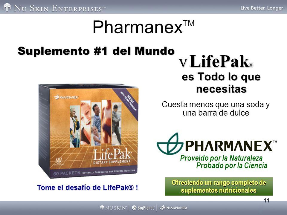 11 Pharmanex TM vLifePak ® es Todo lo que necesitas Suplemento #1 del Mundo Tome el desafío de LifePak® ! Proveído por la Naturaleza Probado por la Ci