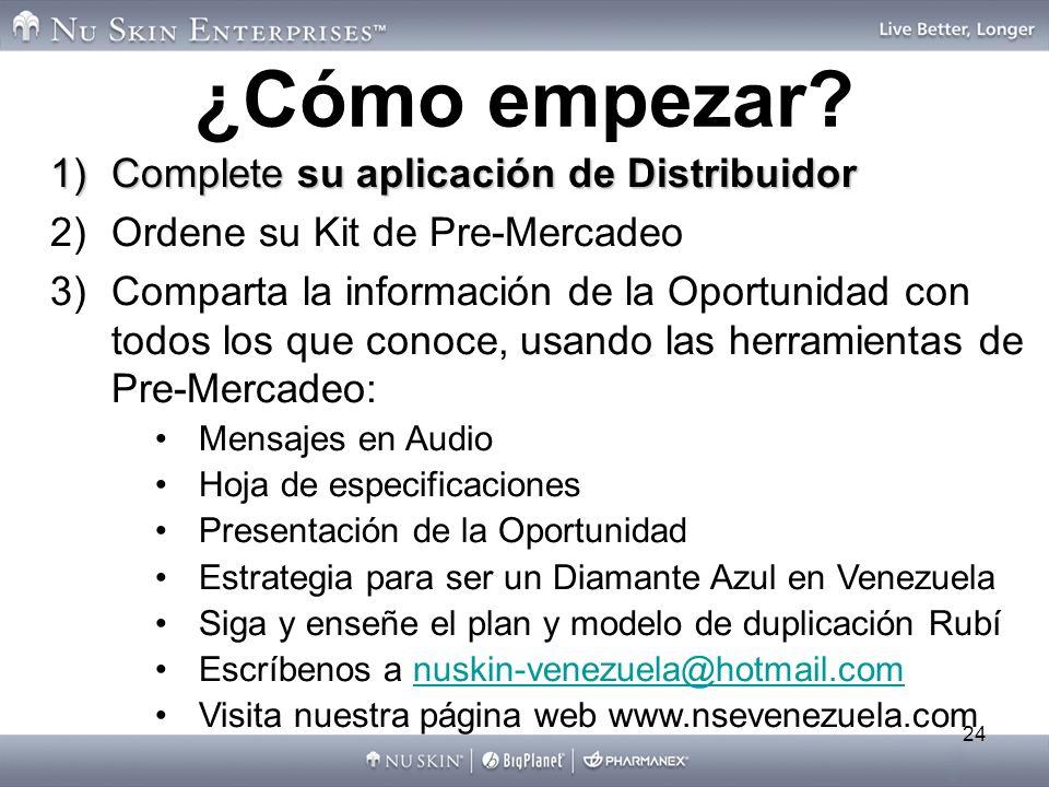 24 1)Complete su aplicación de Distribuidor 2)Ordene su Kit de Pre-Mercadeo 3)Comparta la información de la Oportunidad con todos los que conoce, usan