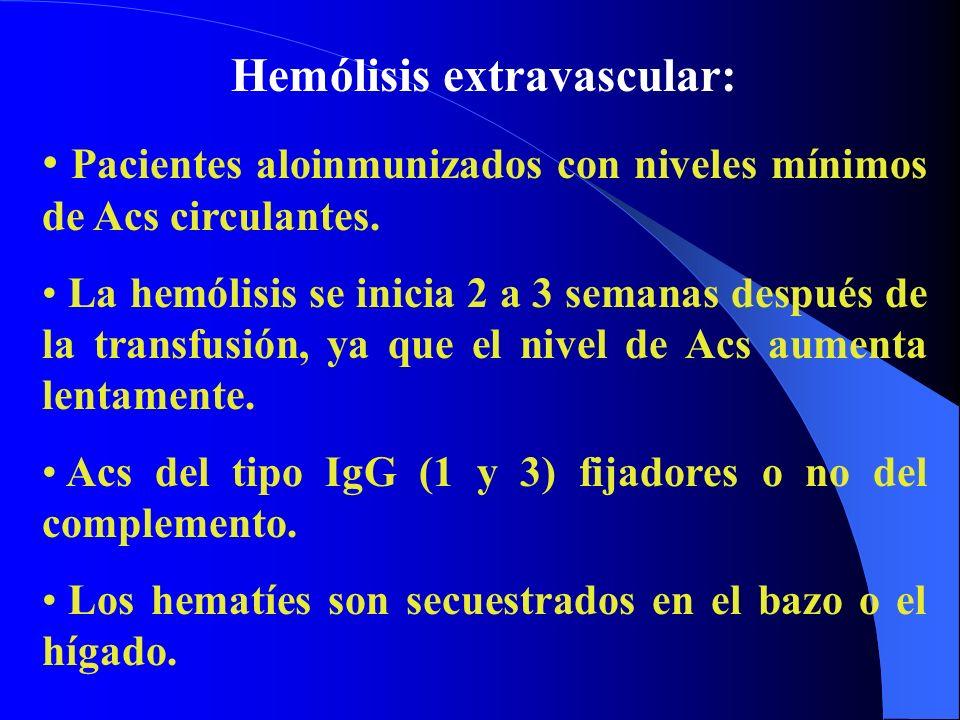 Hemólisis extravascular: Pacientes aloinmunizados con niveles mínimos de Acs circulantes. La hemólisis se inicia 2 a 3 semanas después de la transfusi