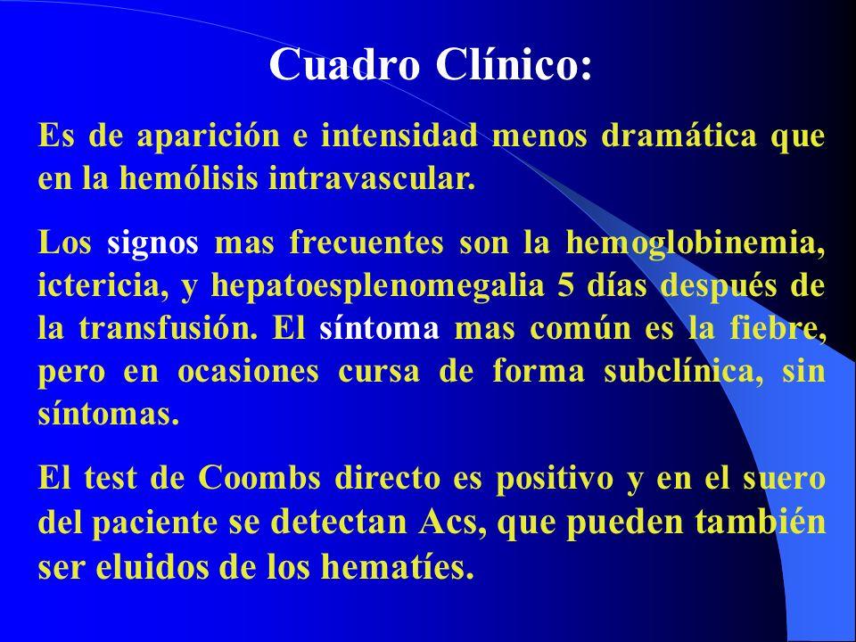 Cuadro Clínico: Es de aparición e intensidad menos dramática que en la hemólisis intravascular. Los signos mas frecuentes son la hemoglobinemia, icter