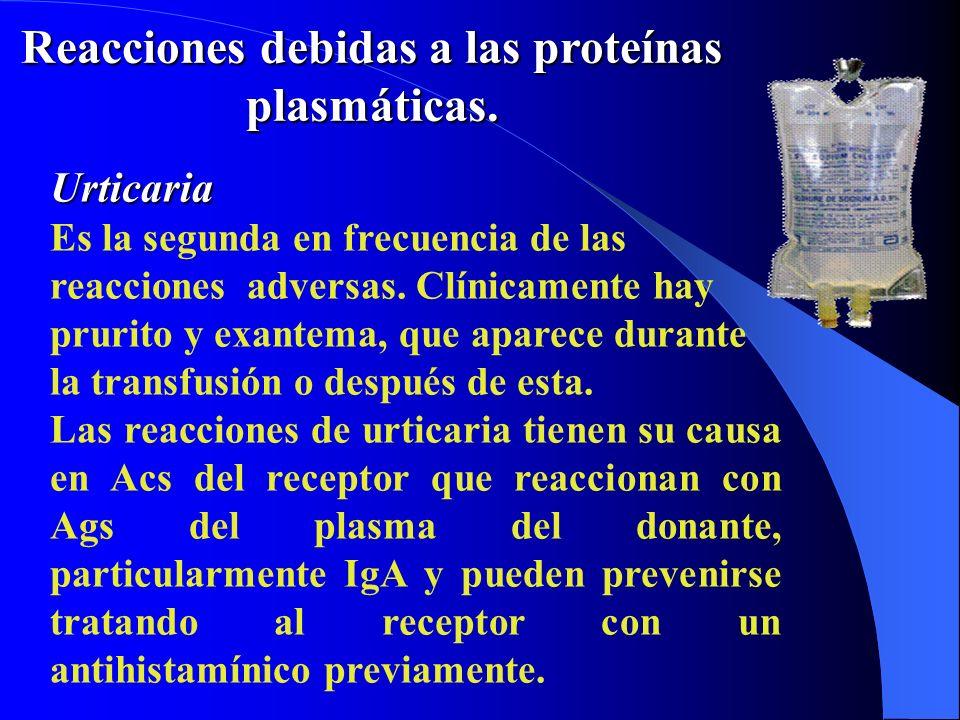 Reacciones debidas a las proteínas plasmáticas. Urticaria Es la segunda en frecuencia de las reacciones adversas. Clínicamente hay prurito y exantema,