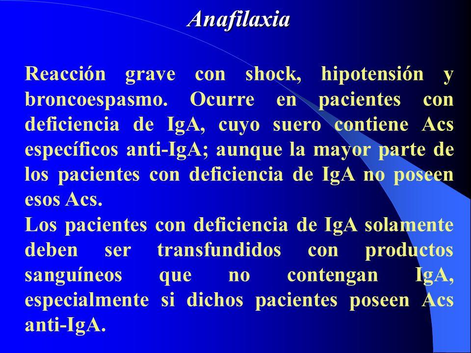 Anafilaxia Reacción grave con shock, hipotensión y broncoespasmo. Ocurre en pacientes con deficiencia de IgA, cuyo suero contiene Acs específicos anti