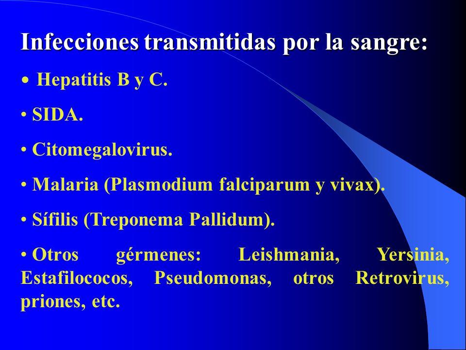 Infecciones transmitidas por la sangre: Hepatitis B y C. SIDA. Citomegalovirus. Malaria (Plasmodium falciparum y vivax). Sífilis (Treponema Pallidum).
