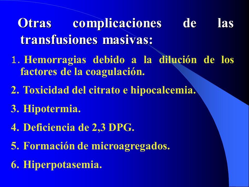 Otras complicaciones de las transfusiones masivas: Otras complicaciones de las transfusiones masivas: 1. Hemorragias debido a la dilución de los facto