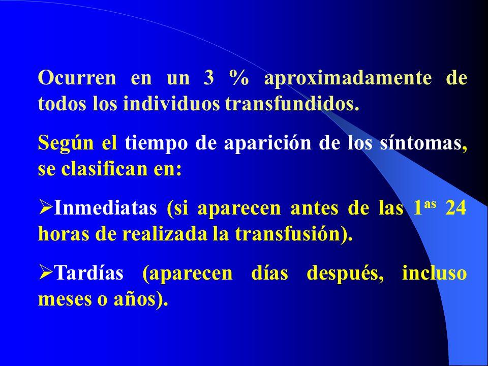 Ocurren en un 3 % aproximadamente de todos los individuos transfundidos. Según el tiempo de aparición de los síntomas, se clasifican en: Inmediatas (s