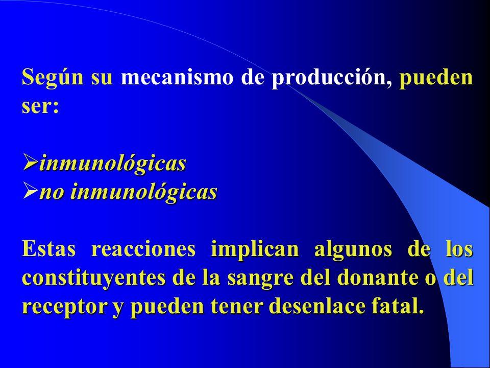 Según su mecanismo de producción, pueden ser: inmunológicas inmunológicas no inmunológicas implican algunos de los constituyentes de la sangre del don