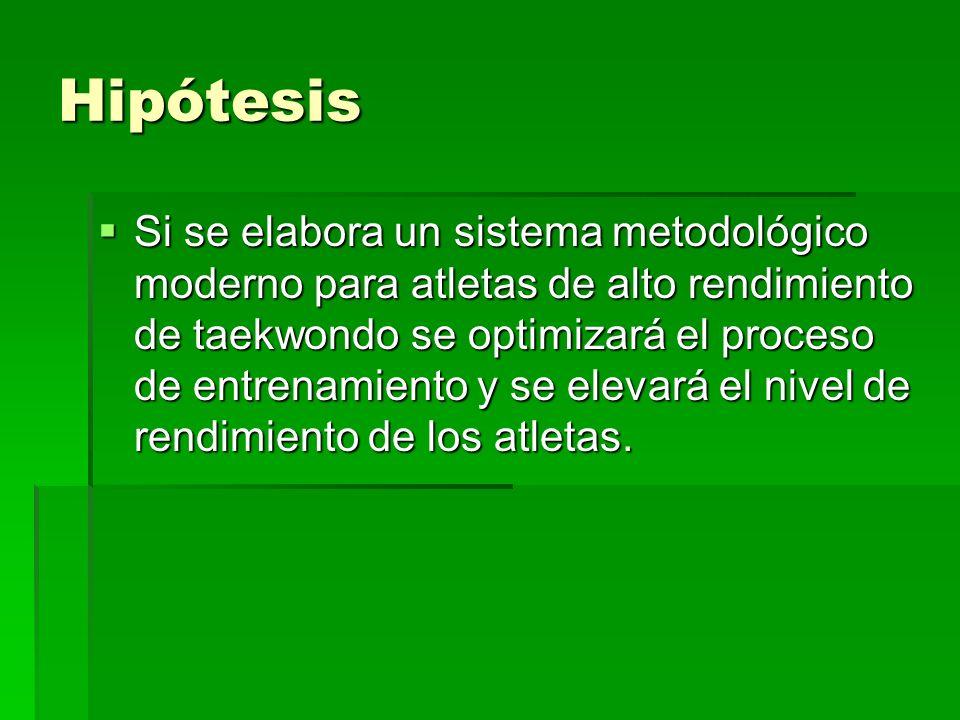 Hipótesis Si se elabora un sistema metodológico moderno para atletas de alto rendimiento de taekwondo se optimizará el proceso de entrenamiento y se e