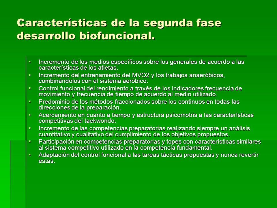 Características de la segunda fase desarrollo biofuncional. Incremento de los medios específicos sobre los generales de acuerdo a las características