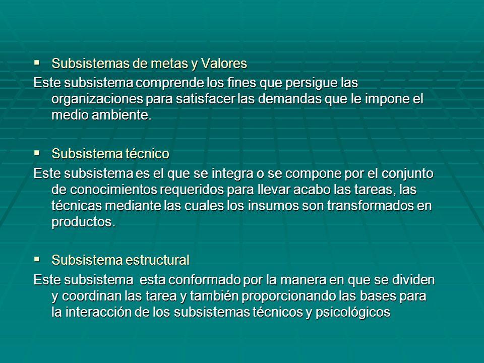 Subsistemas de metas y Valores Subsistemas de metas y Valores Este subsistema comprende los fines que persigue las organizaciones para satisfacer las