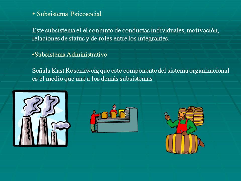 Subsistema Psicosocial Este subsistema el el conjunto de conductas individuales, motivación, relaciones de status y de roles entre los integrantes. Su