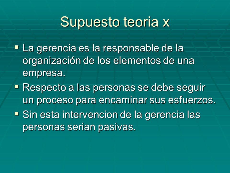 Supuesto teoria x La gerencia es la responsable de la organización de los elementos de una empresa. La gerencia es la responsable de la organización d