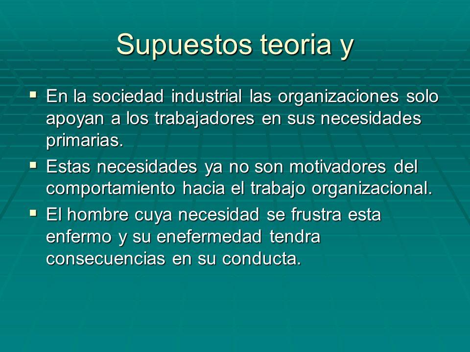 Supuestos teoria y En la sociedad industrial las organizaciones solo apoyan a los trabajadores en sus necesidades primarias. En la sociedad industrial