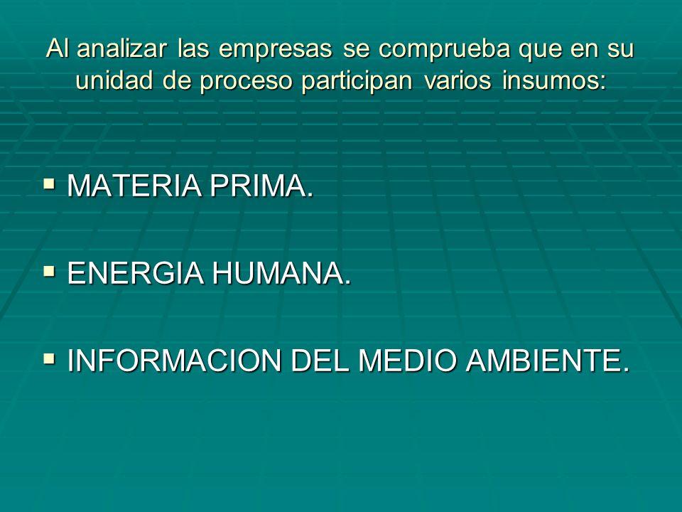 Al analizar las empresas se comprueba que en su unidad de proceso participan varios insumos: MATERIA PRIMA. MATERIA PRIMA. ENERGIA HUMANA. ENERGIA HUM