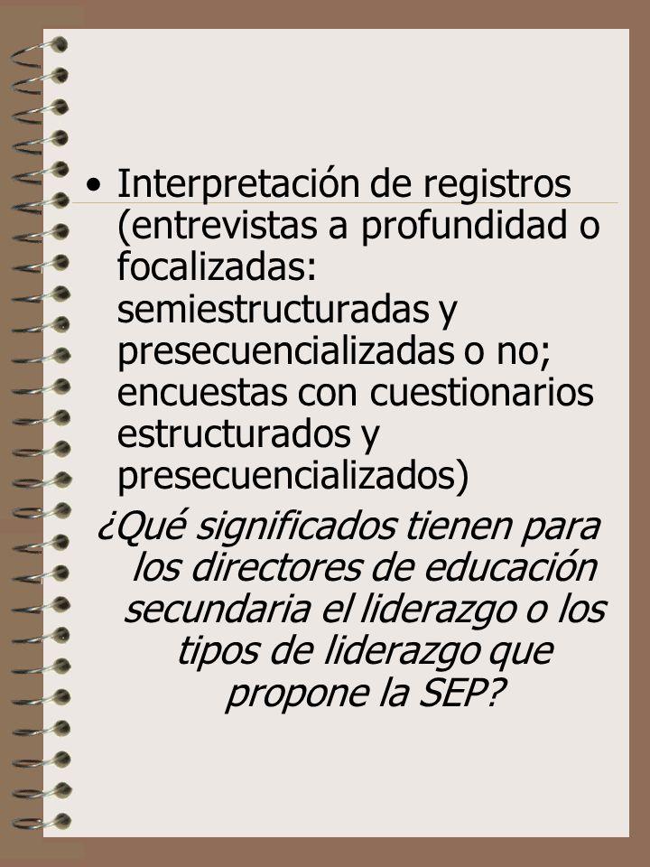 Interpretación de registros (entrevistas a profundidad o focalizadas: semiestructuradas y presecuencializadas o no; encuestas con cuestionarios estruc