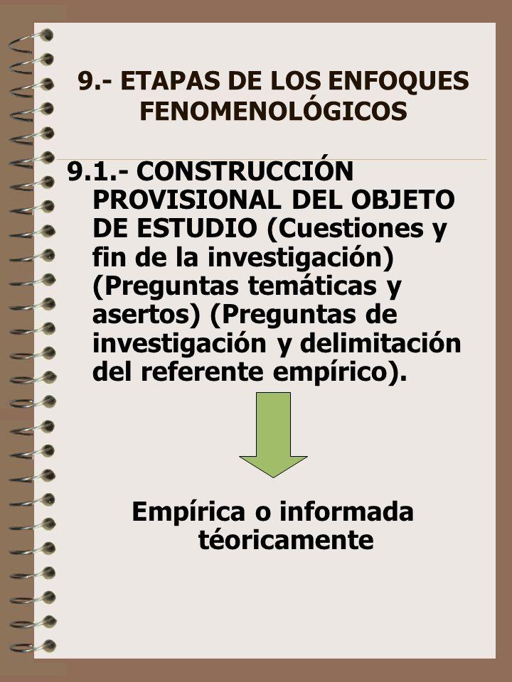 9.- ETAPAS DE LOS ENFOQUES FENOMENOLÓGICOS 9.1.- CONSTRUCCIÓN PROVISIONAL DEL OBJETO DE ESTUDIO (Cuestiones y fin de la investigación) (Preguntas temá
