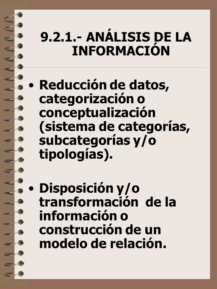 9.2.1.- ANÁLISIS DE LA INFORMACIÓN Reducción de datos, categorización o conceptualización (sistema de categorías, subcategorías y/o tipologías). Dispo
