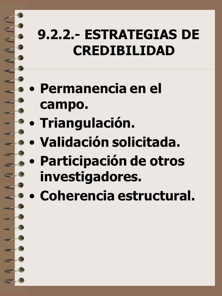 9.2.2.- ESTRATEGIAS DE CREDIBILIDAD Permanencia en el campo. Triangulación. Validación solicitada. Participación de otros investigadores. Coherencia e