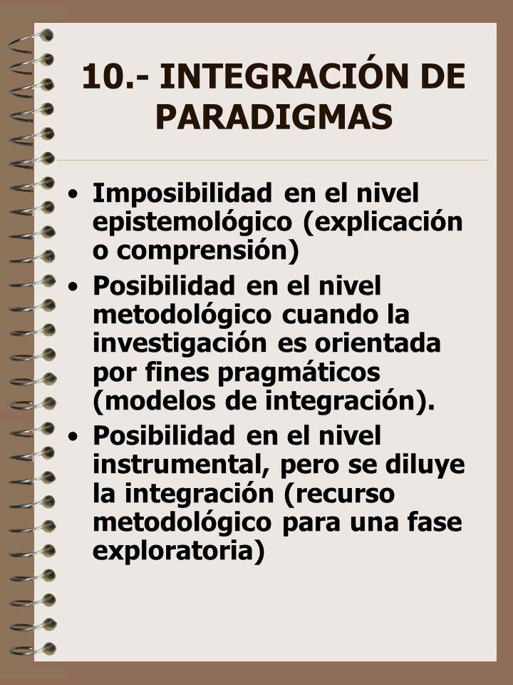 10.- INTEGRACIÓN DE PARADIGMAS Imposibilidad en el nivel epistemológico (explicación o comprensión) Posibilidad en el nivel metodológico cuando la inv