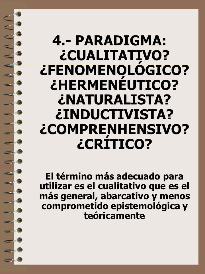 4.- PARADIGMA: ¿CUALITATIVO? ¿FENOMENOLÓGICO? ¿HERMENÉUTICO? ¿NATURALISTA? ¿INDUCTIVISTA? ¿COMPRENHENSIVO? ¿CRÍTICO? El término más adecuado para util