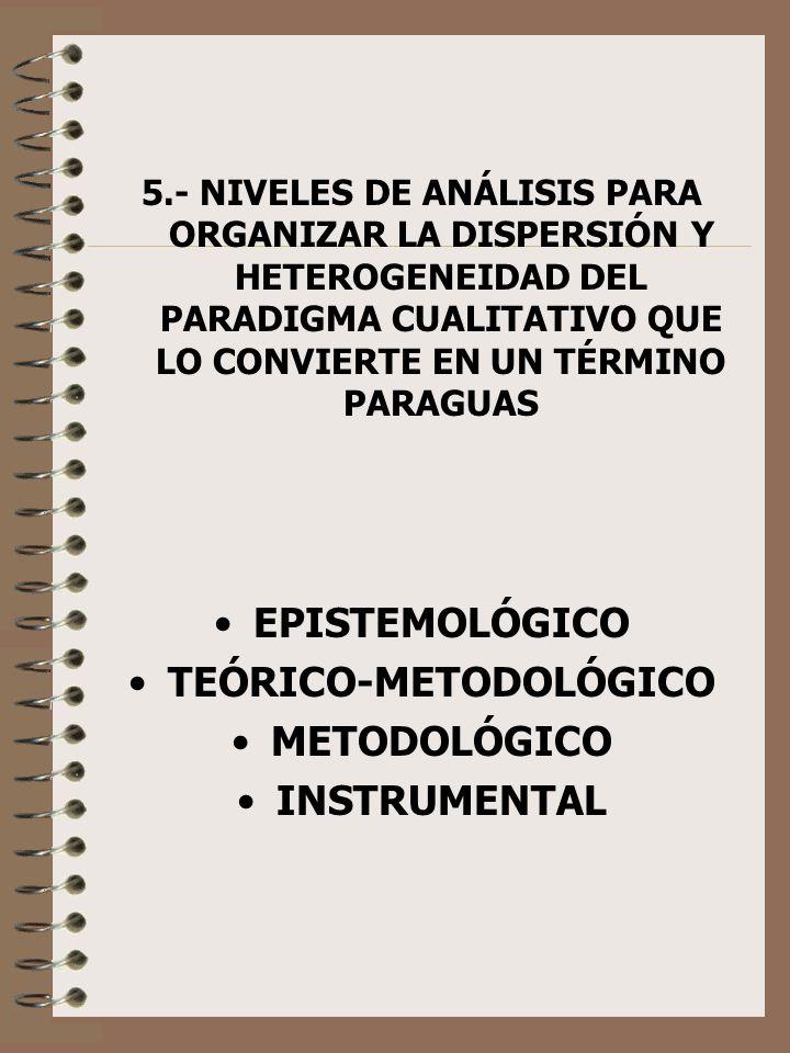 5.- NIVELES DE ANÁLISIS PARA ORGANIZAR LA DISPERSIÓN Y HETEROGENEIDAD DEL PARADIGMA CUALITATIVO QUE LO CONVIERTE EN UN TÉRMINO PARAGUAS EPISTEMOLÓGICO